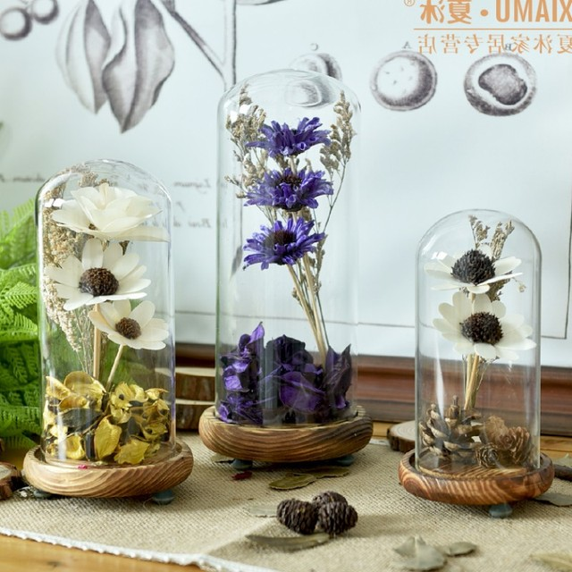 Home art decor glass cover with dry flowers wedding decoration wood home art decor glass cover with dry flowers wedding decoration wood pad glass cup vases holiday junglespirit Gallery