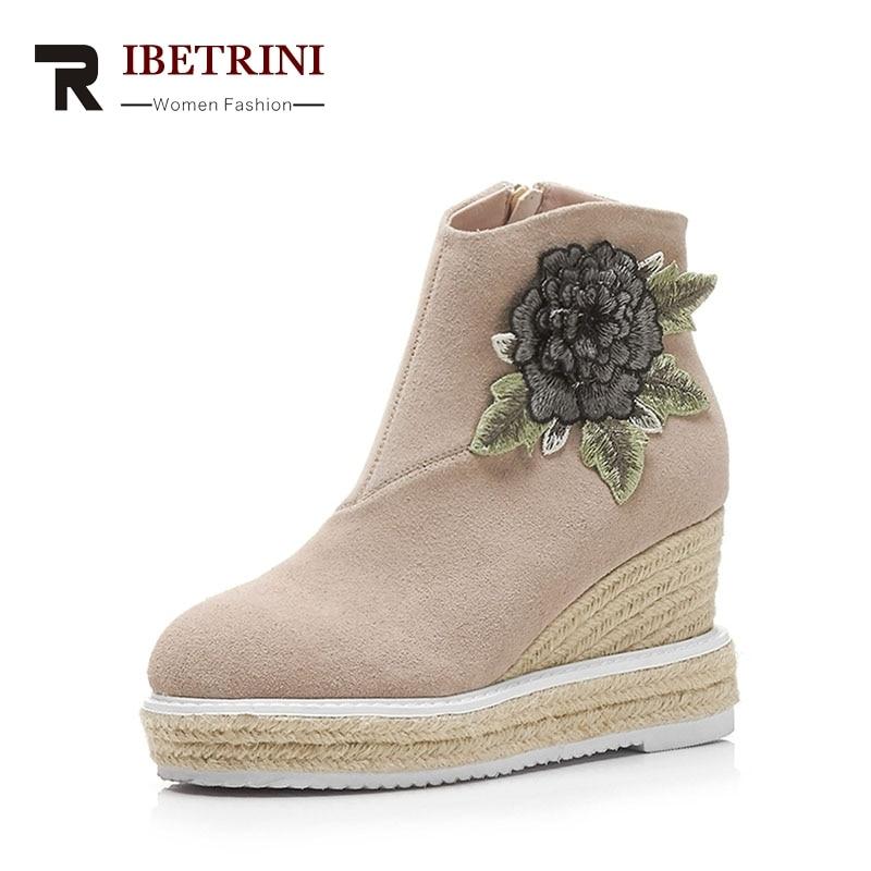 RIBETRINI 2018 Spring And Autumn Elegant Platform Ankle Boots Fashion Embroider Flower High Wedges Women Shoes Size 34-39 platform women boots 2016 fashion casual shoes woman ankle boots slip on flats autumn spring wedges women shoes xwc831