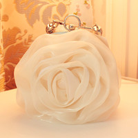 Wedding Bag 2014 Fashion Women Handbag Women Clutch White Flower Hasp Soft Satin Silk Bag Bridal