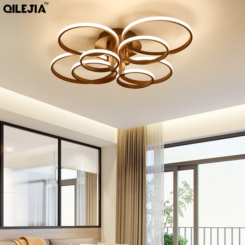 New Arrival Modern Led Chandeliers For Living room Bedroom Dining room Luminaries White Coffee Led Ceiling