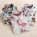 2016 Do Vintage Floral de Algodão Mulheres Blusas Camisas Das Mulheres Longas Da Luva Camisas de Algodão Gola Virada Para Baixo Camisa Ocasional Das Mulheres Encabeça 5XL