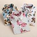 2016 Vintage Floral Cotton Women Blouses Shirts Long Sleeve Women Shirts Turn Down Collar Cotton Casual Shirt Women Tops 5XL