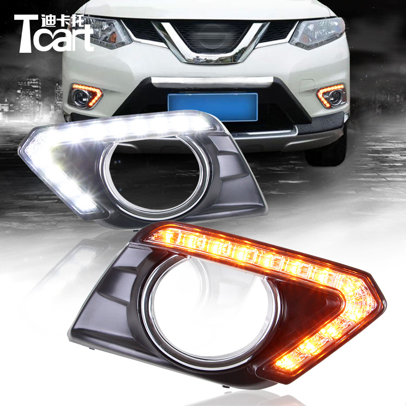 Tcart 12V Car DRL For Nissan X-trail Xtrail T32 2014 2015 2016 Yellow Signal FunctionLED Daytime Running Light with turn signal car rear trunk security shield shade cargo cover for nissan x trail xtrail rogue 2014 2015 2016 2017 black beige
