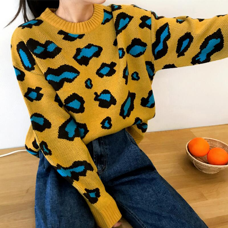 2018 Women's Autumn And Winter Round Neck Knit Bi-color Pullover Leopard Long-sleeved Casual Comfortable Sweater Women