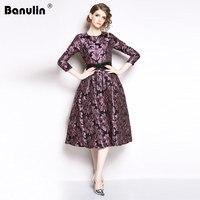 Banulin Fashion Designer Runway 2018 Winter Dress Women's Full Sleeve Jacquard Floral Print Vintage Casual Evening Party Dresses