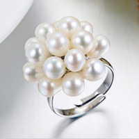 Authenticity Guaranteed Luxury Pearl Jewelry 100 Natural Pearl Flower Wedding Ring For Women Wholesale And Retail