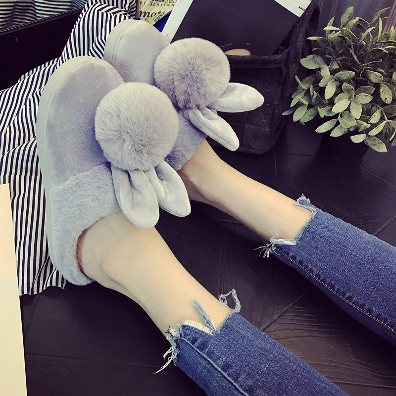 Cute home slippers indoor female shoes winter 2017 new style plush totem rabbit velvet slippers warm shoes women new 2017 house shoes cute happy big feet style giant toe footwear winter warm plush slippers soft unisex indoor shoes