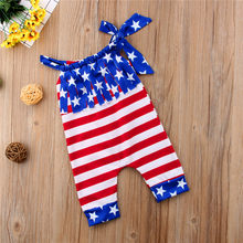 a7ebbf74fcd3 Toddler Infant Baby Girls Flag Stripe Romper Jumpsuit Outfits Clothes  American Stars and Stripes Clothing
