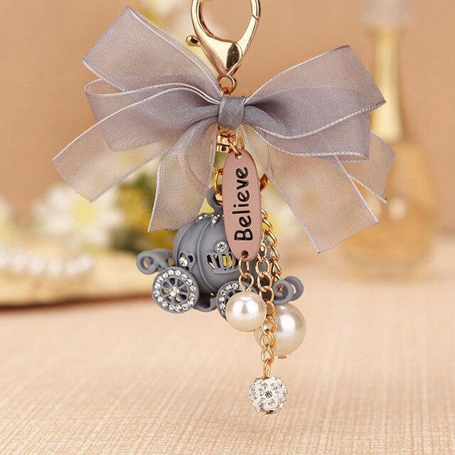 RE Presente Bonito Do Keychain de Cristal Carro Abóbora Chaveiro Saco Fivela Bolsa Pingente de Festa de Aniversário Bom Presente de Casamento Chaveiros J1830
