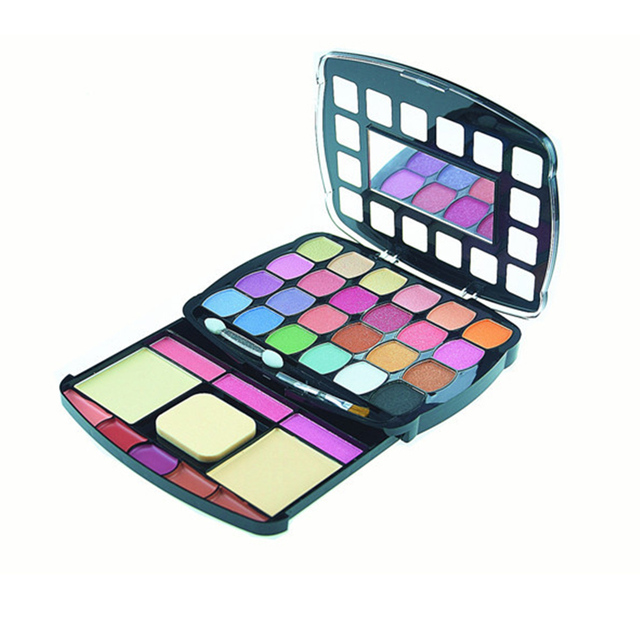 34 colors shimmer eyeshadow lip gloss palette cosmetics naked eye shadow blusher powder with brush set Facial Eye makeup beauty