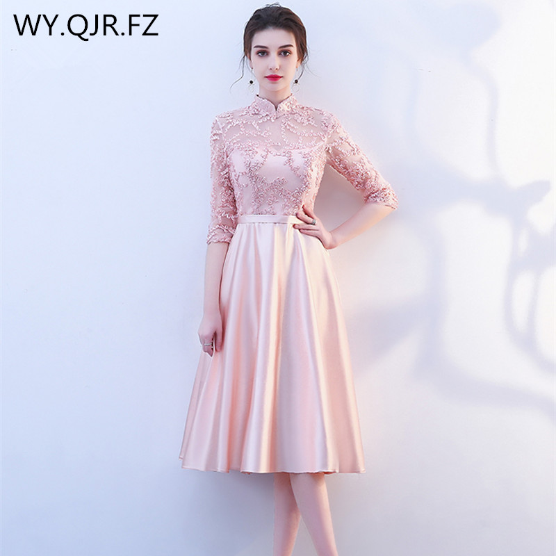 KBS025F#Stand Collar Short Medium Long Pink Lace Up Bridesmaid Dresses Wedding Party Prom Dress Girl 2019 New Wholesale Clothing