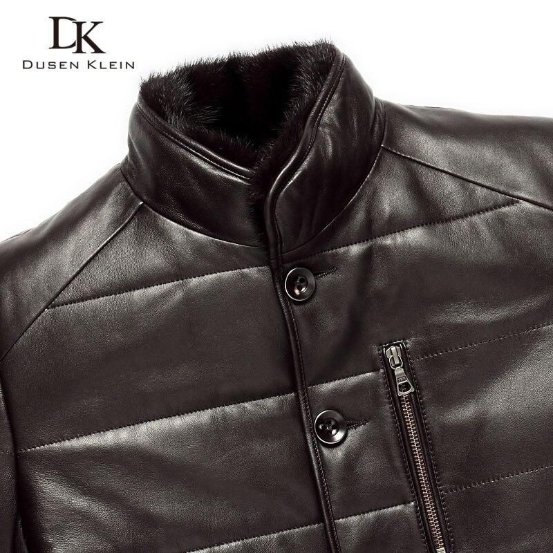 Dusen Klein Winter Leder jacke schaffell wolle liner nerz pelz kragen luxus marke mäntel Schwarz/Braun 15J1386-in Echte Ledermäntel aus Herrenbekleidung bei  Gruppe 3