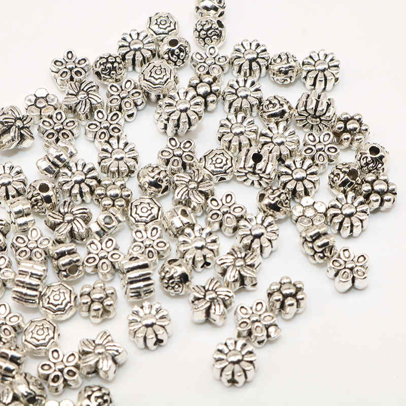 mixed 100pcs leopard Head Silver material Tibetan Silver Beads Spacer Loose Beads Handmade For charm Jewelry Making