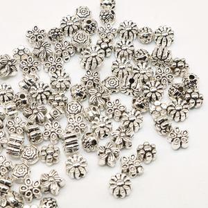 Miçangas espaçadoras para fazer jóias, miçangas de leopardo, material prateado tibetano, cor prata, miçangas soltas, feito à mão, 100 peças