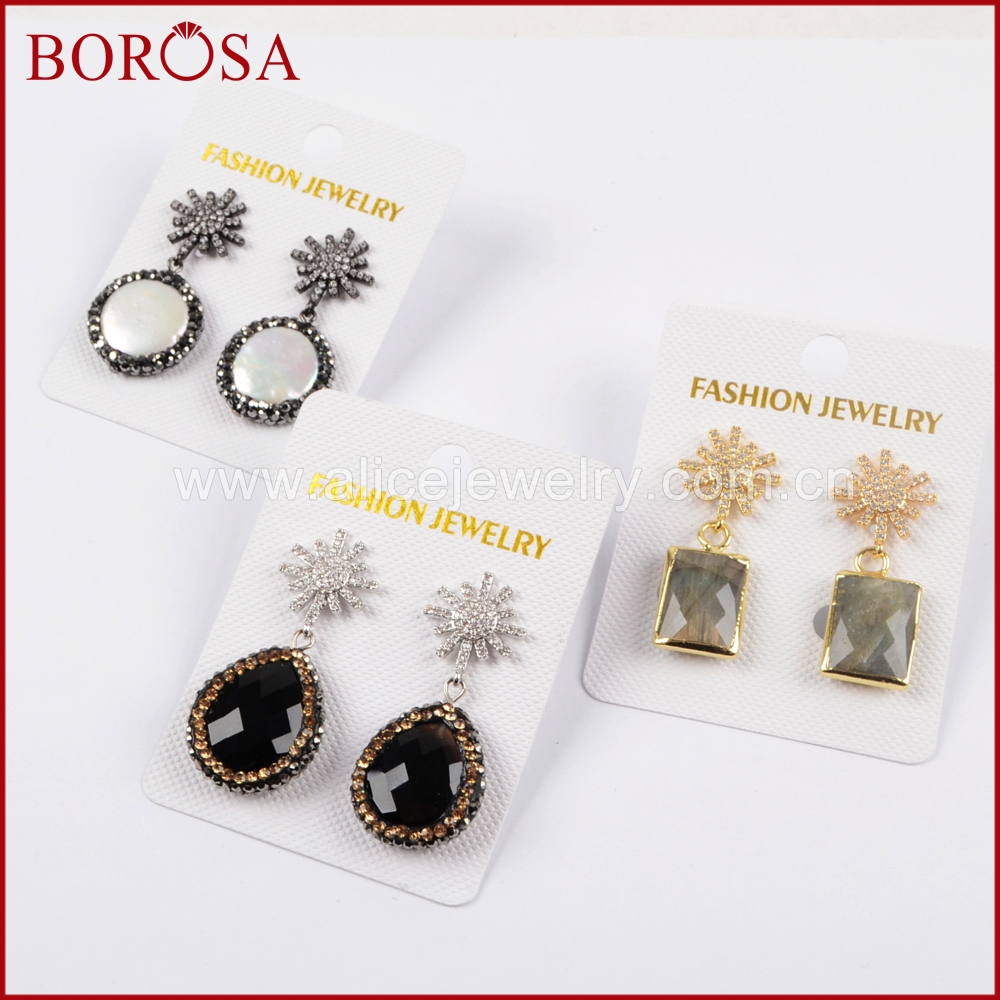 BOROSA Crystal Rhinestone & CZ Micro Pave Multi Kind Stones Natural Druzy Pearl Dangle Earrings or Women Girls Jewelry JAB840