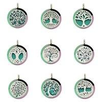 5 PC Art Design 30mm Rainbow Tree Of Life Óleo Essencial Perfume Medalhão Colar Pingente Com Corrente 10 Almofadas