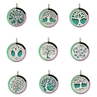 5PC Art Design 30mm Rainbow Tree Of Life Perfume Essential Oil Locket Necklace Pendant With Chain 10 Pads