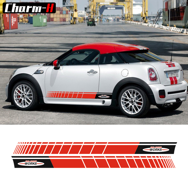 A Pair Black Red Side Skirt Racing Stripes Graphics Decal Sticker For Mini John Cooper Works S Jcw R56 F56 Accessories
