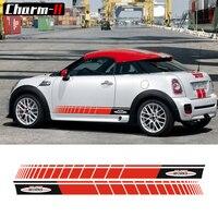 Un Paio Nero/Rosso gonna lato Racing stripes graphics decal Sticker per MINI John Cooper Works S JCW