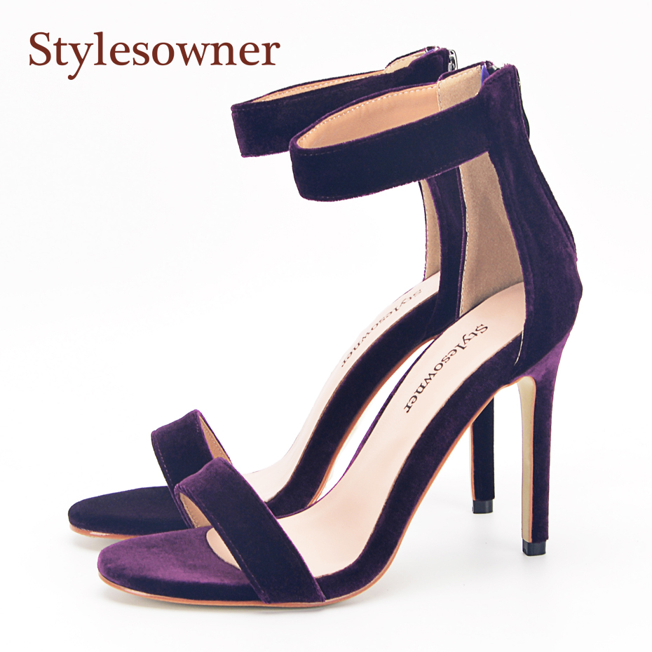Stylesowner Rich Purple Velvet Lady Summer Sandal Open Toe One Strap Real Leather 11cm Thin Heel Elegant OL lady Shoe stylesowner elegant lady pumps sandal shoe sheepskin leather diamond buckle ankle strap summer women sandal shoe