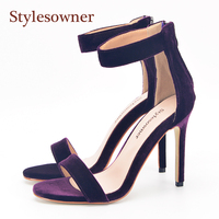 Stylesowner Rich Purple Velvet Lady Summer Sandal Open Toe One Strap Real Leather 11cm Thin Heel Elegant OL lady Shoe