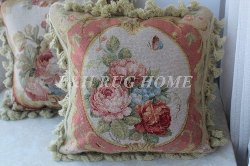 FREE SHIPPING 15K 16X16 Needlepoint pillow, handknotted cushion with floral designs no insertion
