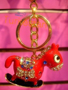 2010 fashion red horese key Chain free shipping  Wholesale 20pc/lot no 5