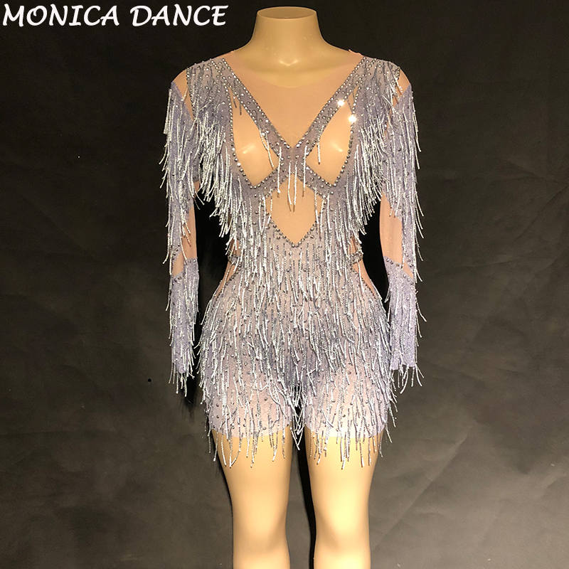 44cfee62e30b Women Sexy Net Yarn Bodysuit Silver Tassel Sparkling Crystals DJDS Jumpsuit  Nightclub Birthday Party Wear Dancer