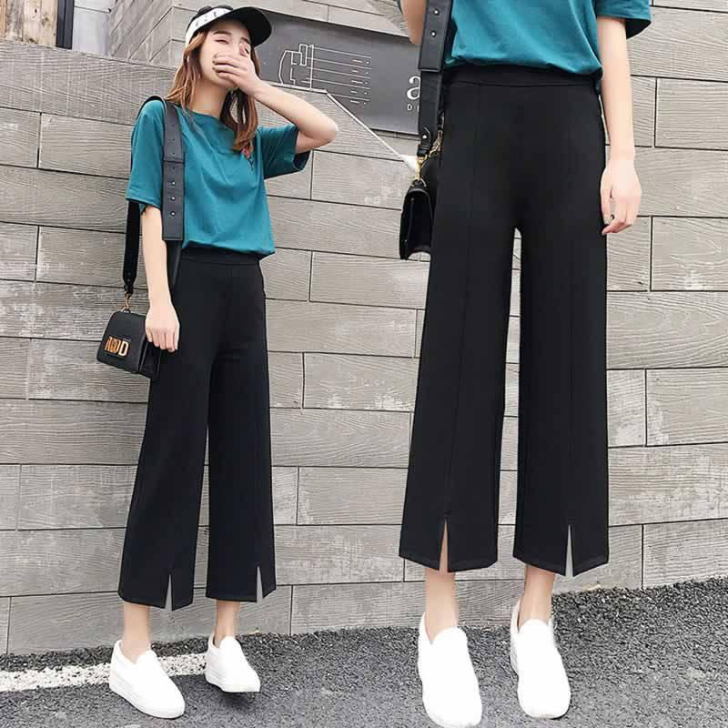 2019 Fashion Summer   Wide     Leg     Pants   Women High Waist Solid Loose   Pants   Elegant Trousers PP024