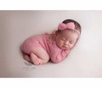 Knit Newborn Baby Girl Lace Romper Ser Butterfly Bow Baby Girl Onesie Newborn Outfit Infant Clothes Photography Props