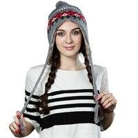 Siggi mujer de punto Beanie sombrero de invierno para niña Bonnet lana con oreja pompom otoño gorros muts cappelli caliente 16204