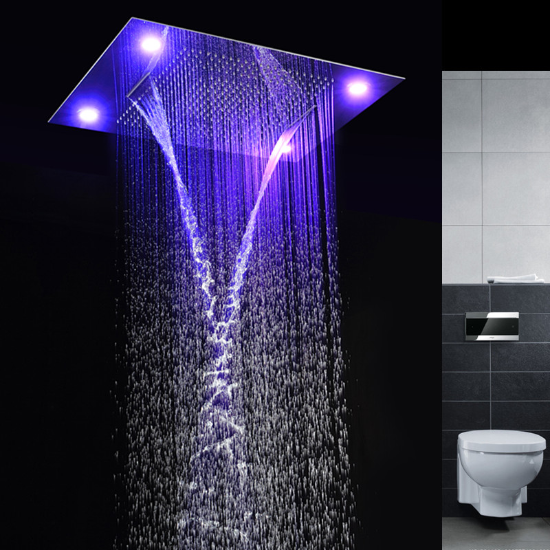 Multiple Shower Head Control led light rainfall shower head recessed ceiling multiple functions