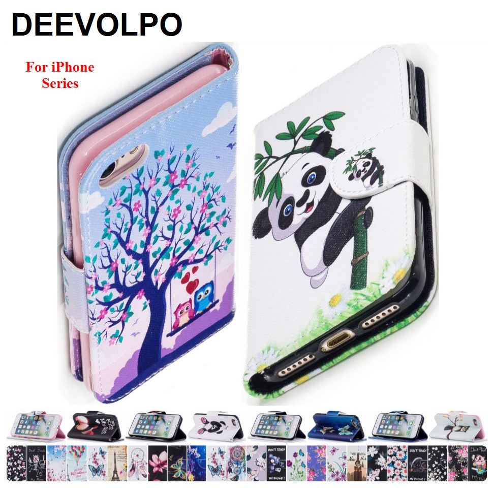 DEEVOLPO Colored Painted Phone Bags PU Leather For Apple iPhone 5 5S SE 6 6S 7 8 Plus 6+ 7+ 8+ Card Slot Book Cases Fundas DP07Z