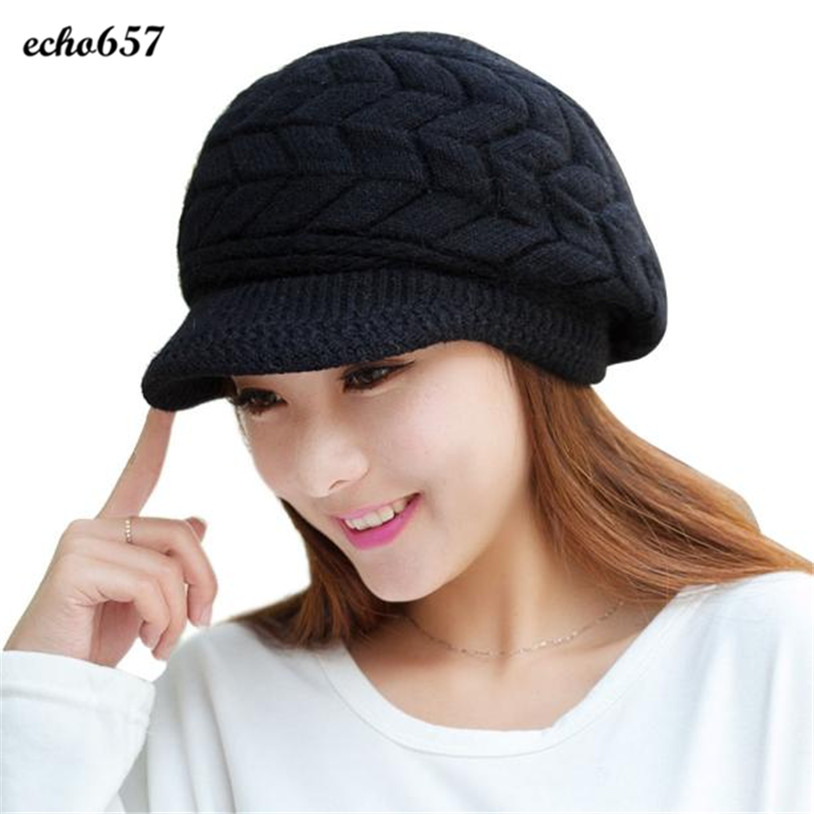 Top Quality Hot Sale Echo657 Fashion Women Casual Hat Winter   Skullies     Beanies   Knitted Hats Rabbit Fur Cap Nov 26