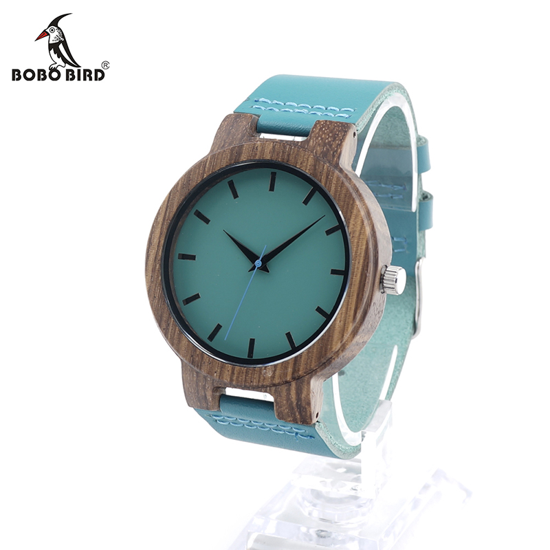 BOBO BIRD C28 Mens Zebra Wood Wristwatch Blue Dial Leather Quartz Watches in Gift Box Relogio