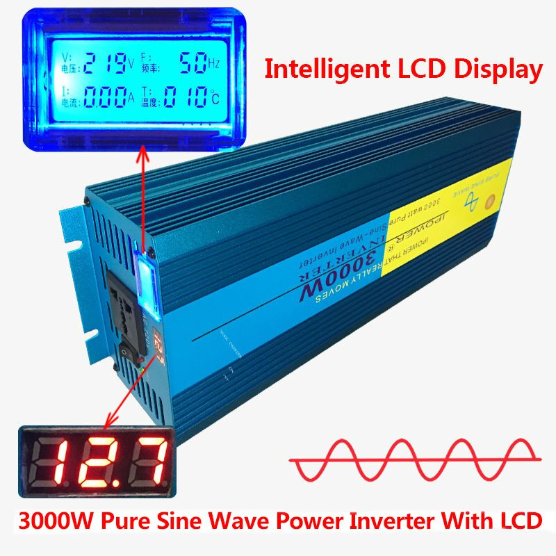 Digital Display 3000W 6000W Peak Pure Sine Wave Power Inverter DC 12V to AC 220V 230V
