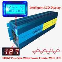 デジタルディスプレイ 3000 ワット 6000 ワットピーク純粋な正弦波パワーインバータ DC 12 V ac 220 V 230 12V 240 V コンバータ電源太陽光発電