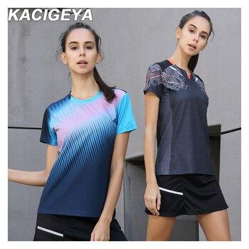 מהיר יבש לנשימה בדמינטון חולצה נשים ספורט שולחן טניס T חולצות צוות משחק ריצה אימון קצר שרוולים