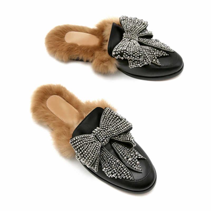 Prova Perfetto Sıcak Satış Kadın kürk terlik Sonbahar Kış sıcak düz ayakkabı Kadın Kristal Ilmek Terlik Kadın Katır Daireler