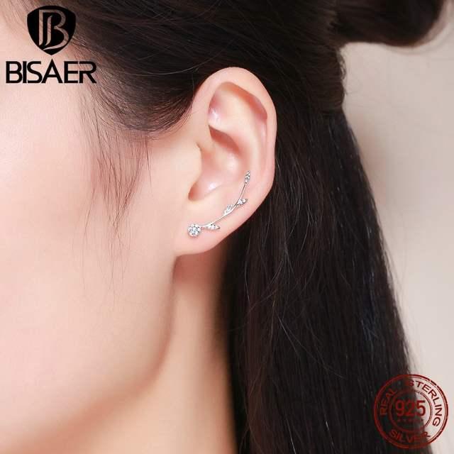 57ae6d65e8eeb 100% 925 Sterling Silver Dazzling Daisy Heart Feather Star Clear CZ Cuff  Stud Earrings for Women Sterling Silver Jewelry Bijoux