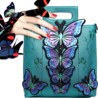 National Style Handbag Butterfly Embroidered Flower PU Leather Vintage Top handle Bag for Birthday Gift Lady Party Shoulder Bags