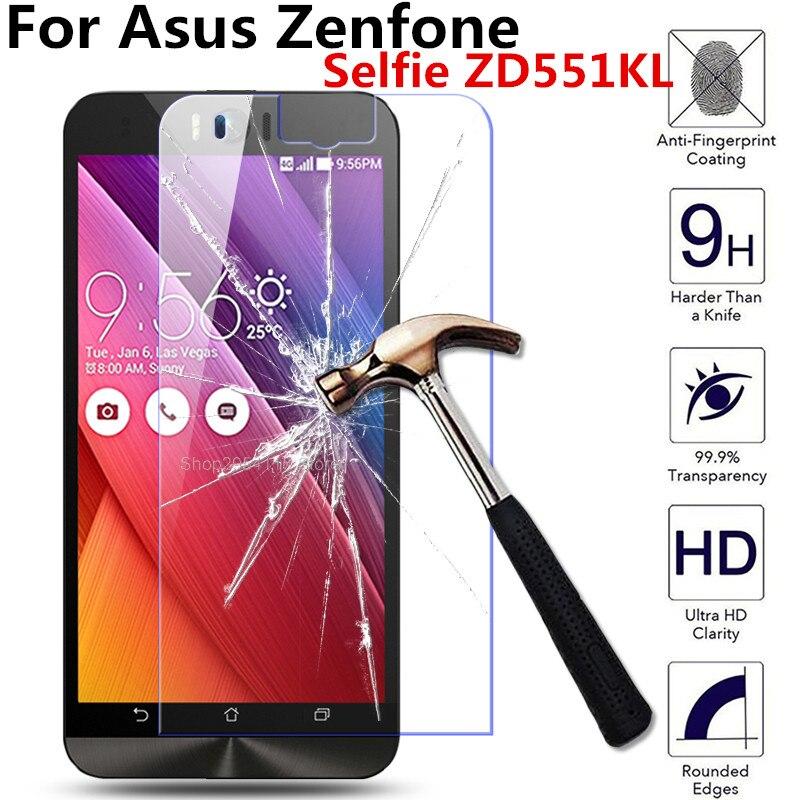 For Asus Zenfone Selfie ZD551KL ZD 551 ZD551 KL 551KL 5.5inch Dual sim lte tw jp us Tempered Glass Screen Protector HD Film Case