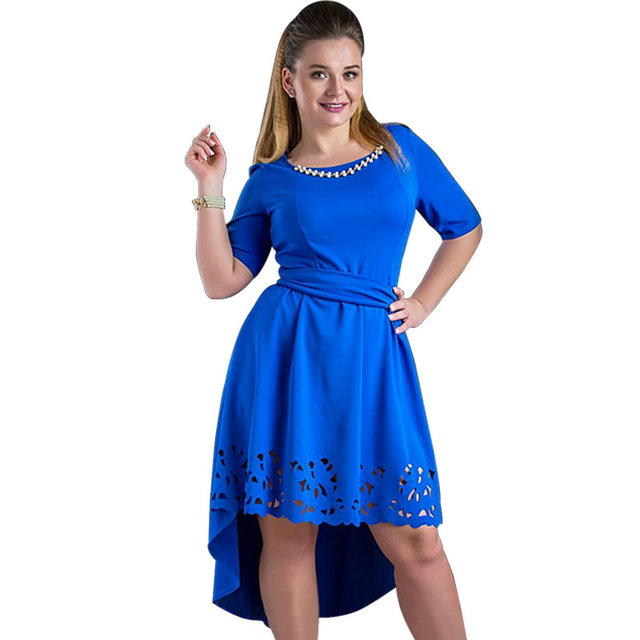 Plus Size High-Low Hollow Out Flare Casual Dress 1