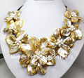 Perfect  Gold yellow Shell Floral flower bloom & White Cultured Pearl Necklace