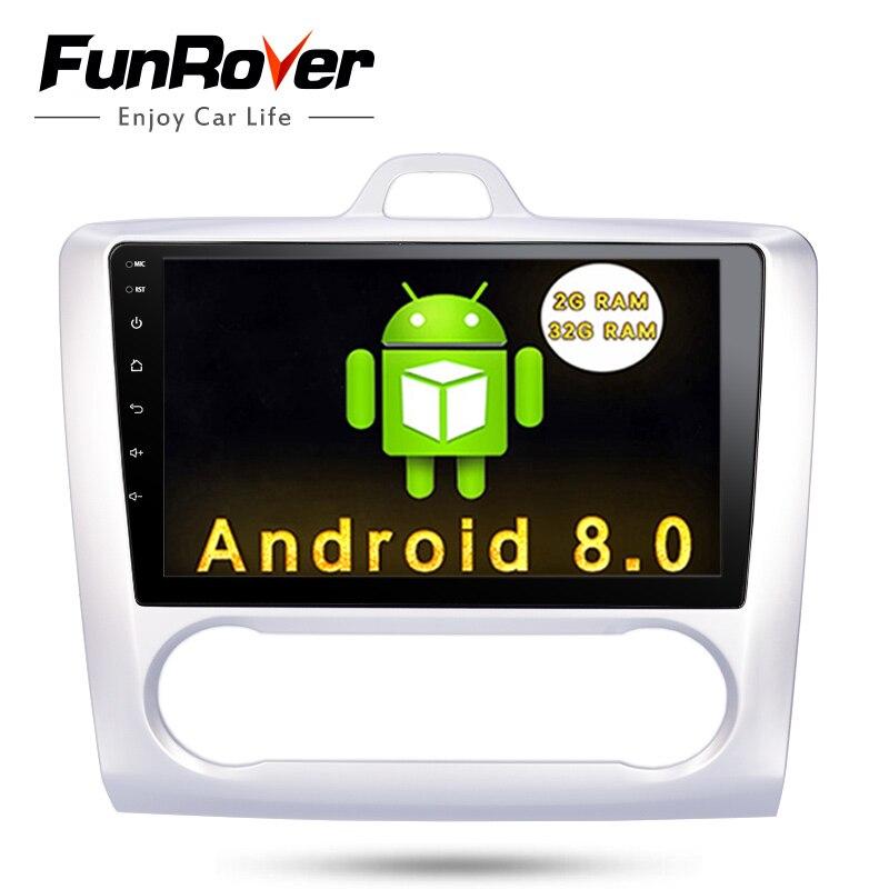 Funrover 8 cores Android 8.0 2 din Car Dvd Gps Player For Ford Focus 2 2004-2011 9 Stereo Autoradio Headunit Multimedia navi fm funrover ips 8 2 din android 8 0 car dvd player for kia sportage 2016 2017 kx5 gps navigation car stereo headunit wifi bt navi