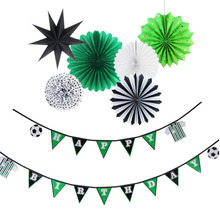 Happy Birthday Party Decorations Kids 7pc Football Soccer Theme Pennant Banner Paper Star Supplies