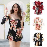 Fashion sexy women's trumpet sleeve printed jumpsuit shorts 81081