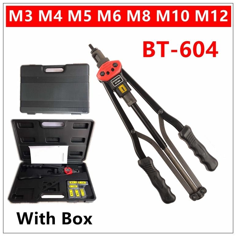 MXITA BT-604 17 Blind Riveter Nut Gun Heavy Hand INSER NUT Tool Rivet Manual Mandrels M3 M4 M5 M6 M8 M10 M12 automation tool metric thread m3 m4 m5 m6 m8 m10 m12 304 stainless steel blind insert rivet nut rivnut brand new