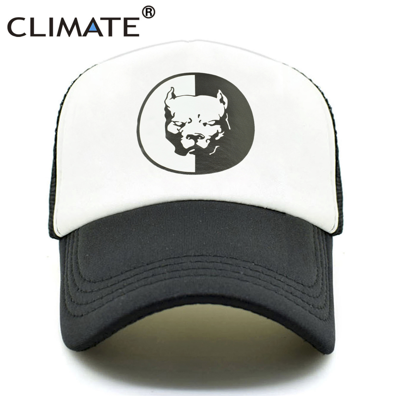 CLIMATE Men Women Trucker Caps Bully Pitbull Super Hero Dog Summer Cap Cool Dog Mesh Caps Black Baseball Caps Hat for Men Women