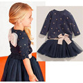 Spring Autumn Girls Clothing 2016 Children Girls Clothing Sets Long Sleeve Star Print Top Bowknot Lace Tutu Skirt Girls Outfits